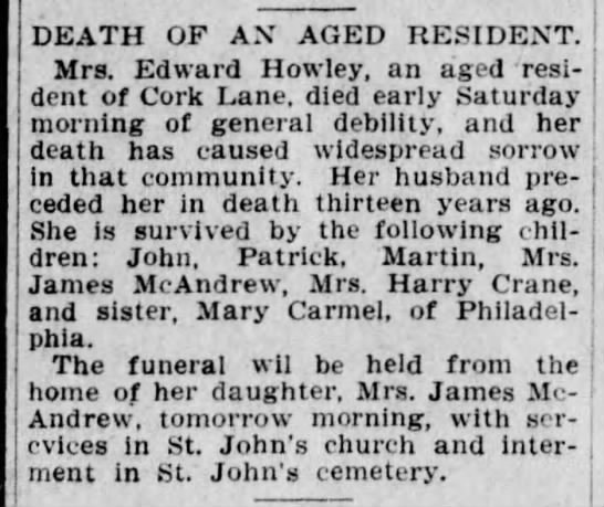 Example of an obituary where the woman is referred to by her husband's name, 1906 -