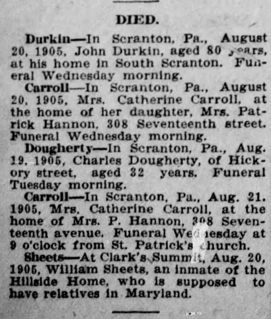 Kitty Carroll August 21 1905 page 1 The Scranton Truth