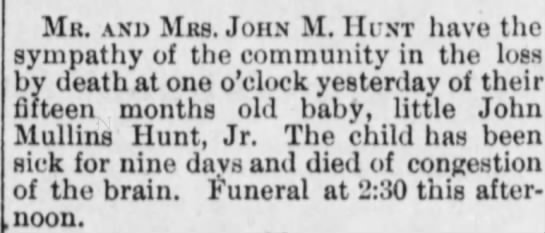 Son died - July 28, 1893 -