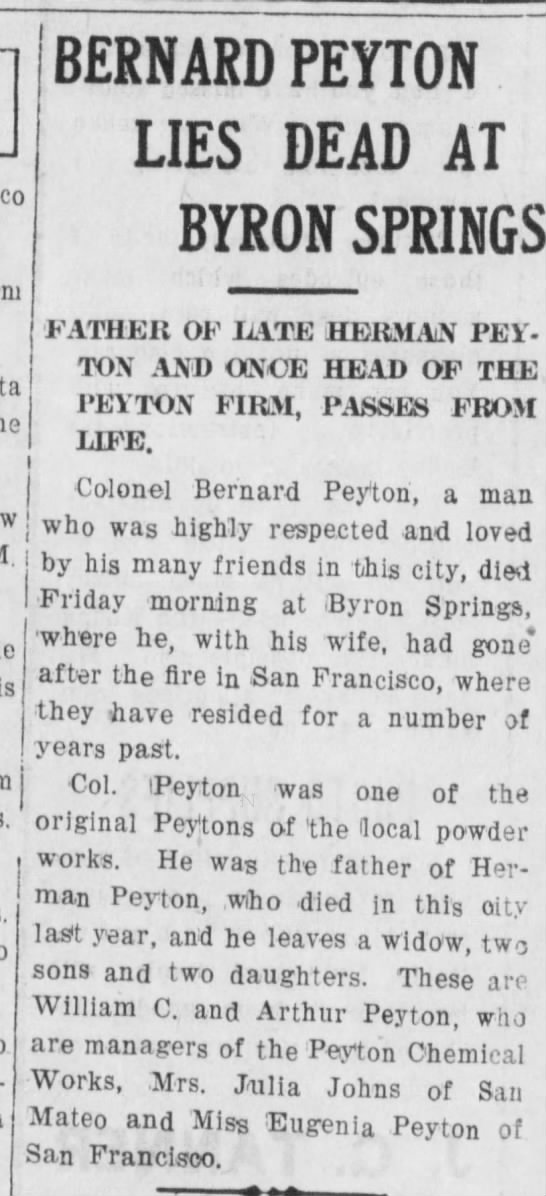 - BERNARD PEYTON LIES DEAD AT BYRON SPRINGS...