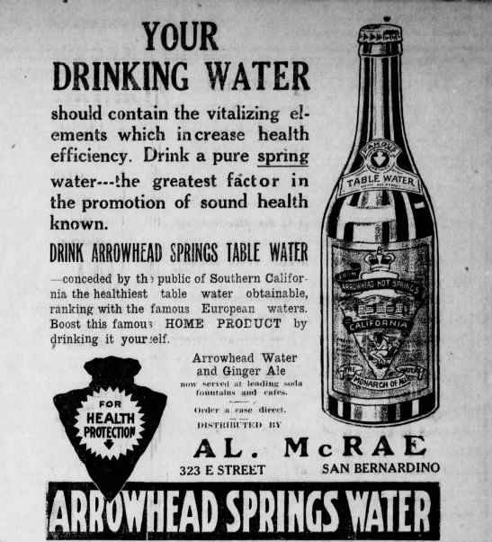 Ad for Arrowhead Springs Water -