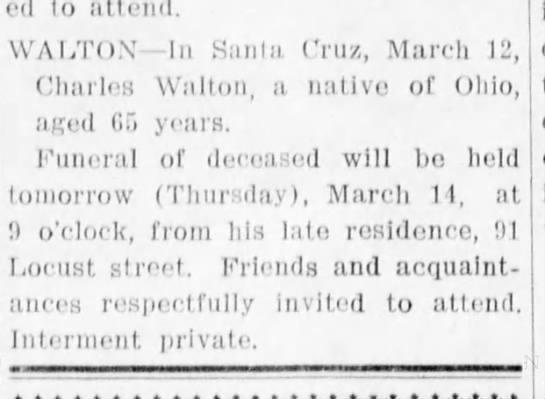 Charles Walton passed away at 65 years of age in Santa Cruz -