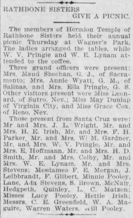 1901 Aug 23 - Hettie Irish - Evening Sentinel - Picnic - RATHBONE SISTERS GIVE A PICNIC. The members of...