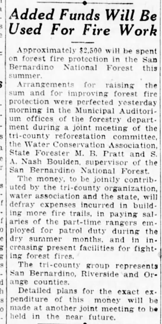 1925-6-18 Added Funds Will Be Used For Fire Work SB Forestry Office -
