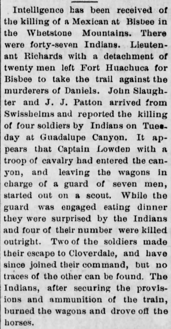 Cloverdale History - . Intelligence has been received of the killing...