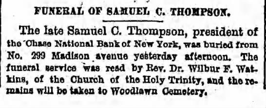 FUNERAL OF SAMUEL C. THOMPSON -
