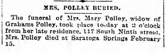 Mary Polley obit 1894 (wife of Grahams Polley) -