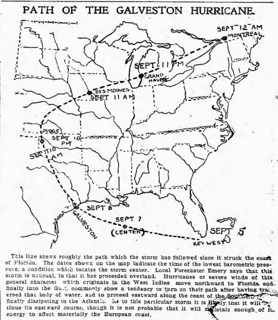 Illustration of the path of the 1900 Galveston Hurricane in the United States -