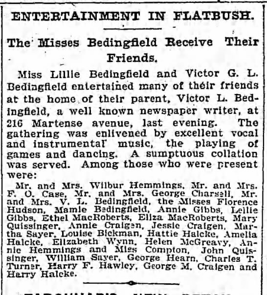 10 Apr 1901 Misses Bedingfield receive their friends -