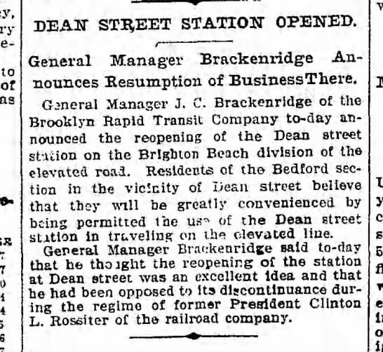 Dean Street 2nd opening; October 28, 1901 -