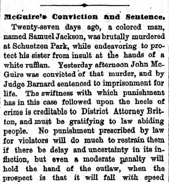 McGuire Editorial.  Murder of two black men convicted.  Mention of police officer Joyce. -