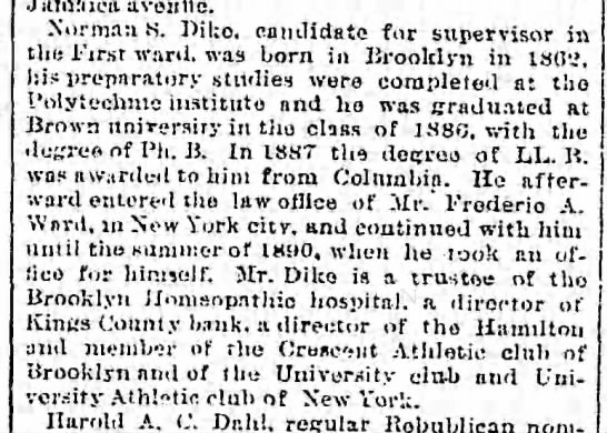 Republican Nominees, The Brooklyn Daily Eagle (Brooklyn, New York) October 29, 1893, page 5 -