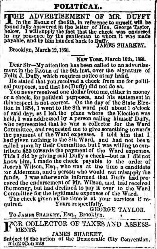 Brooklyn Daily Eagle, 12 Mar 1860 p 3 -