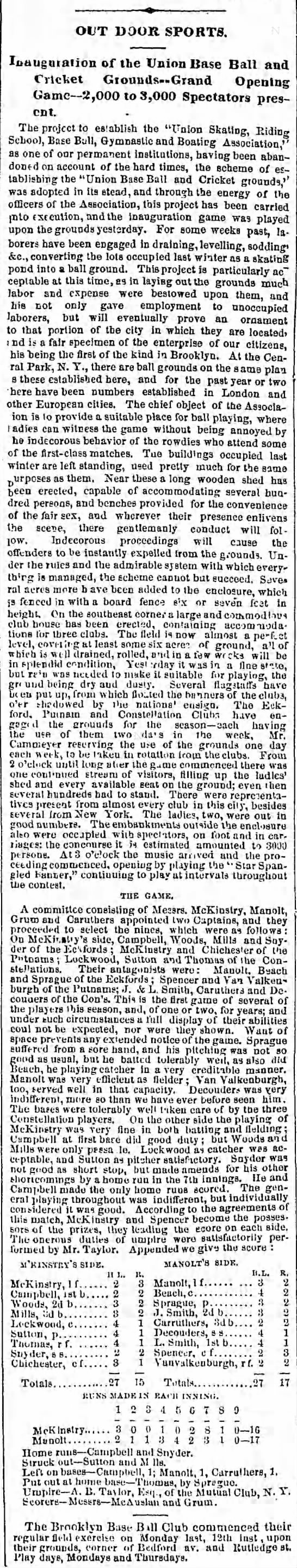 1862-Brooklyn Daily Eagle-First SSB in Baseball -