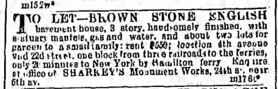 Brooklyn Daily Eagle, 23 Mar 1866 - House for sale/let -