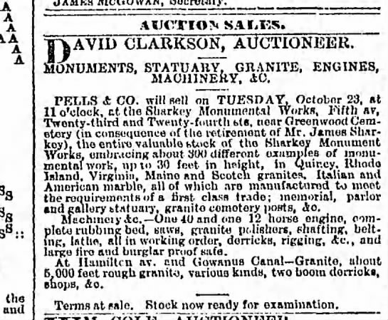 Brooklyn Daily Eagle, 22 Oct 1883 - semi retirement sale of Sharkey Monument Works - A A A A '8 : the and AUCTION SAIiKS. D AVID...