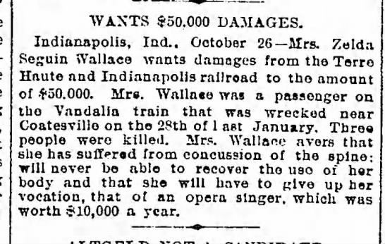 Zelda Seguin Wallace sues railroad (1895) -