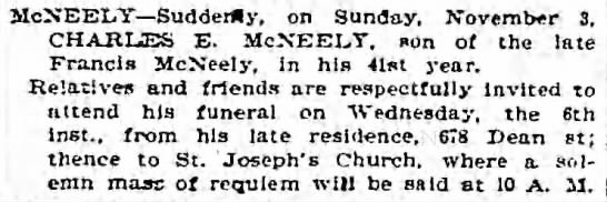 Charles McNeeley Obit 1895 41 yrs old -