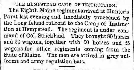 8th me arrives at camp hempstead -
