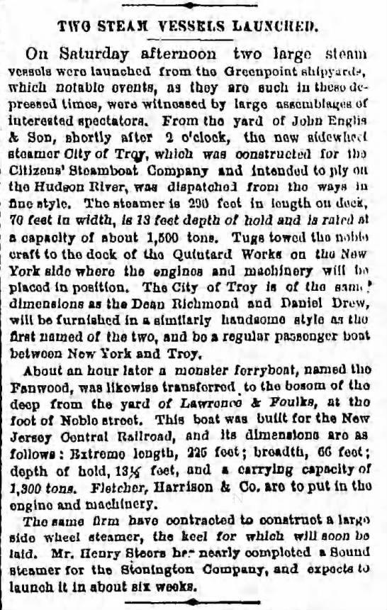 Steamers City of Troy and Fanwood launches, 1876 -