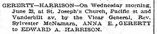Marriage of Edward A. Harrison & Anna E. Gererty 23 Jun 1897 -