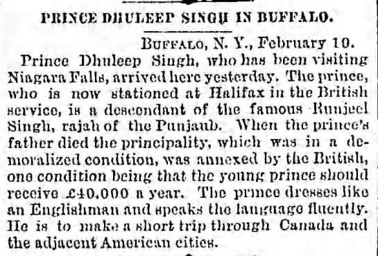 Prince Victor Dhuleep Singh in USA and Canada to see Niagara Falls  -