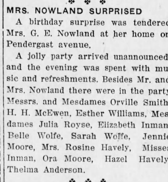 Surprise Birthday Mrs G.E. Nowland 25 April 1919 -
