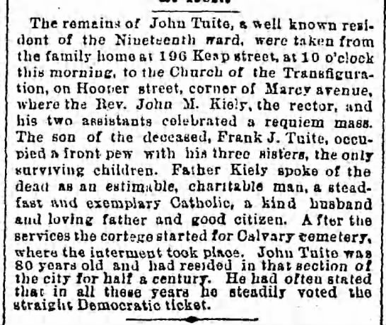 Death of John Tuite, b. 1812 -