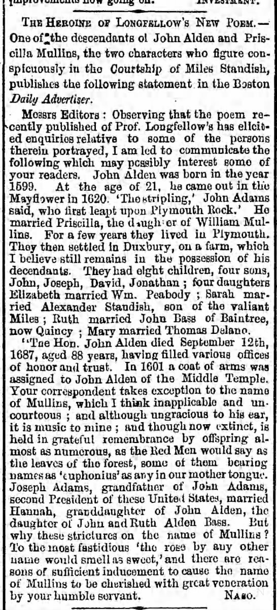 John Alden & Priscilla Mullins, Miles Standish info 1858 -