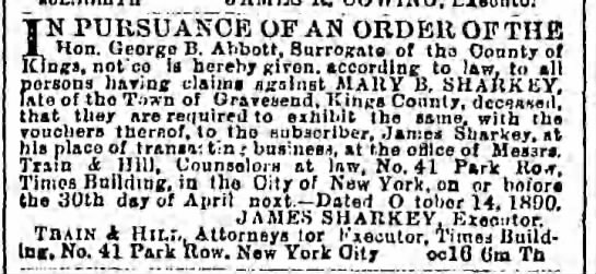 Brooklyn Daily Eagle 19 Feb 1891 - claims vs Mary B sharkey - TN PURSU ANCE OF AN ORDER OF THE JL Hon. Georgo...