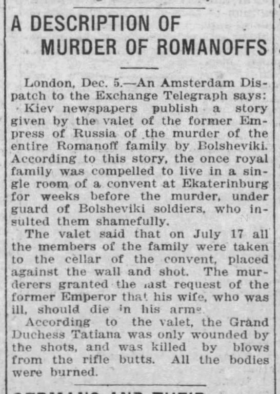 A Description of Murder of Romanoffs, Dec. 1918 -