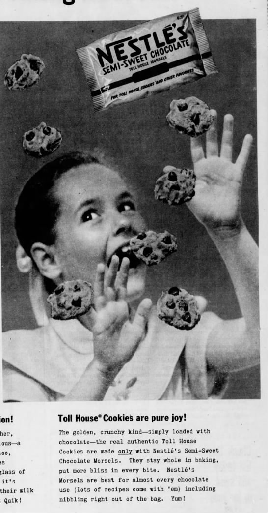 1955 ad for Nestle's semi-sweet morsels -