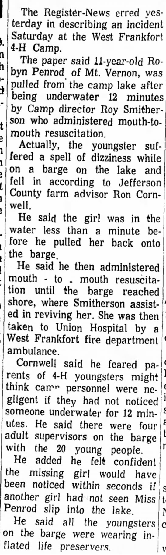 1970 July 1 Ron Rescues Girl from Lake -