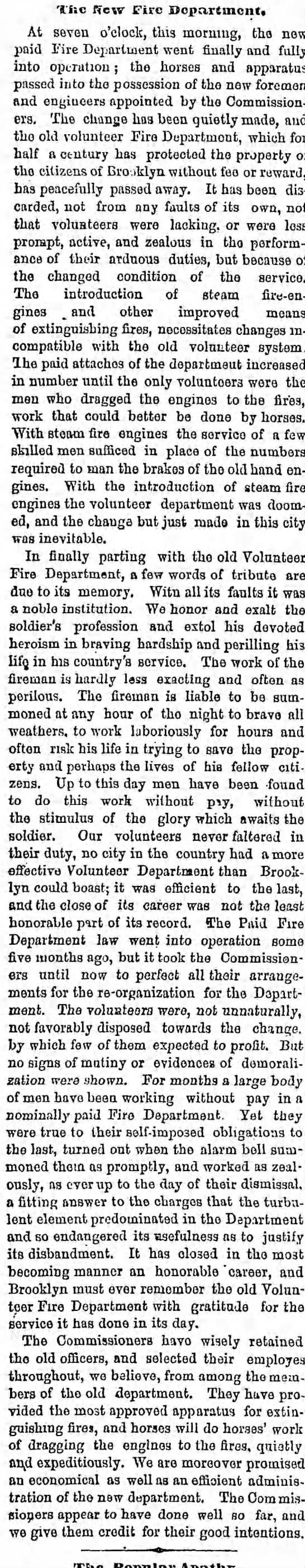 City of Brooklyn Fire Department September 1869 -