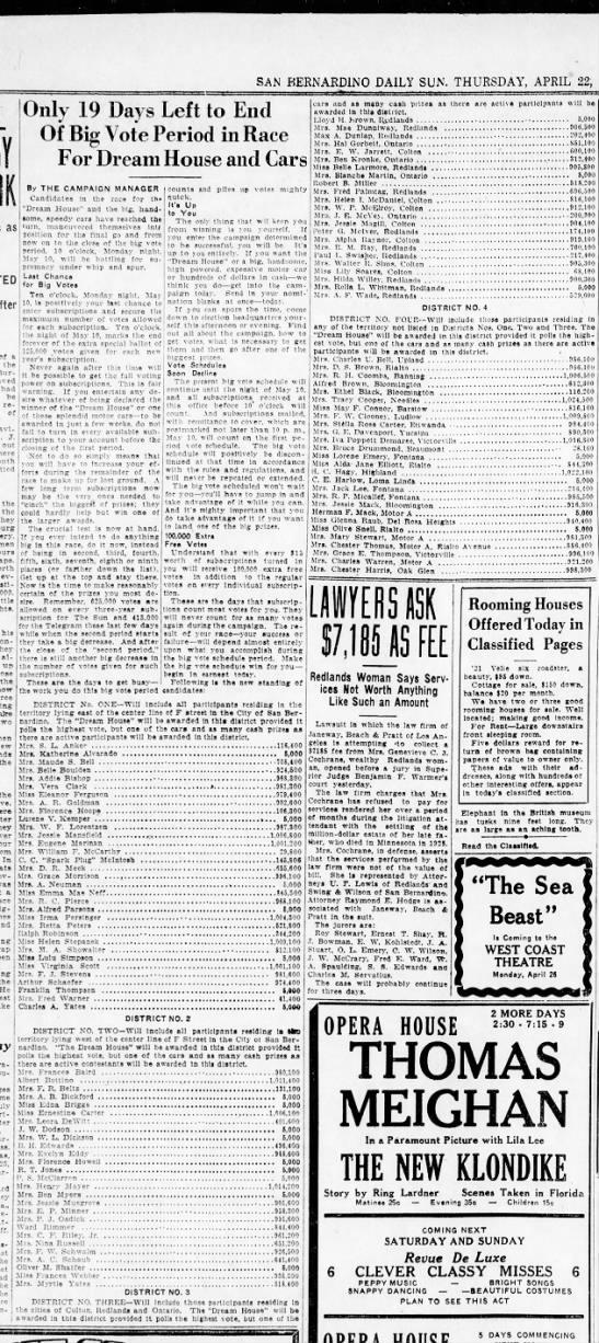 1926 Mrs Eugene Marinan Campaign continues, SanBernardino CA -