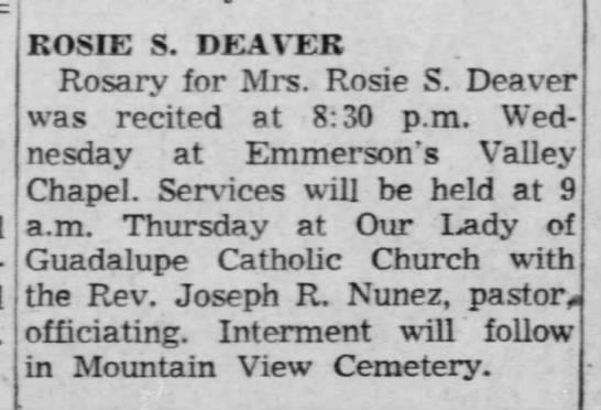 Mrs Rosie S Deaver Obit -