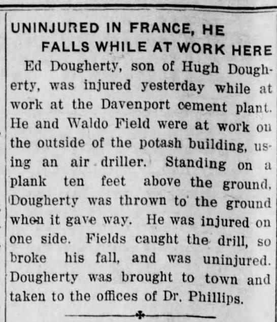 Edward Joseph Dougherty Injured at work -
