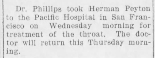 - Dr. Phillips took Herman Peyton to the Pacific...