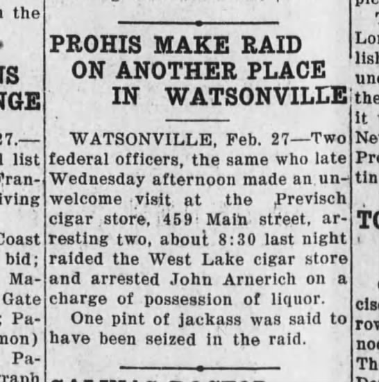 Santa Cruz Evening News, 27 February 1932, Page 1, Column 4 -
