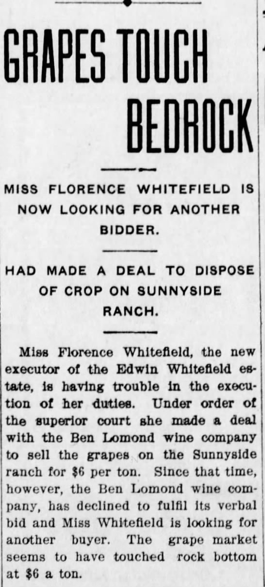 Florence  Whitefield re Edwin's Estate -