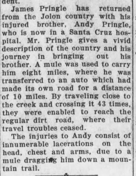 James Pringle and Andy Pringe return from Jolon Country with injuries 15 Feb 1930 -