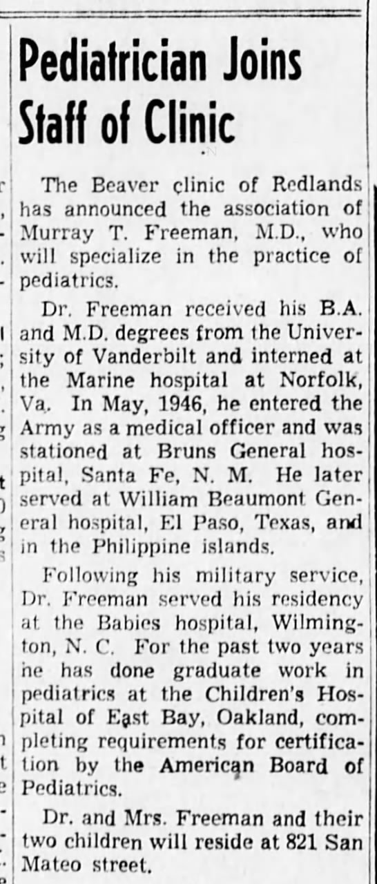 dr murray freeman - neonle-s Pediatrician Joins Staff of Clinic The...