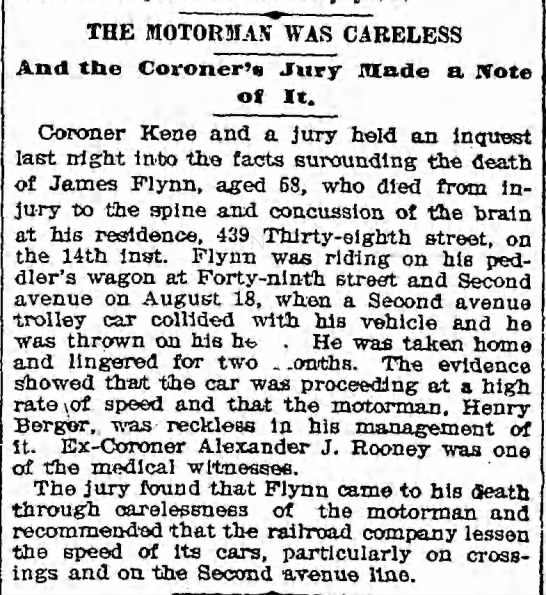 James Flynn Trolley Death Article October 26, 1894 -