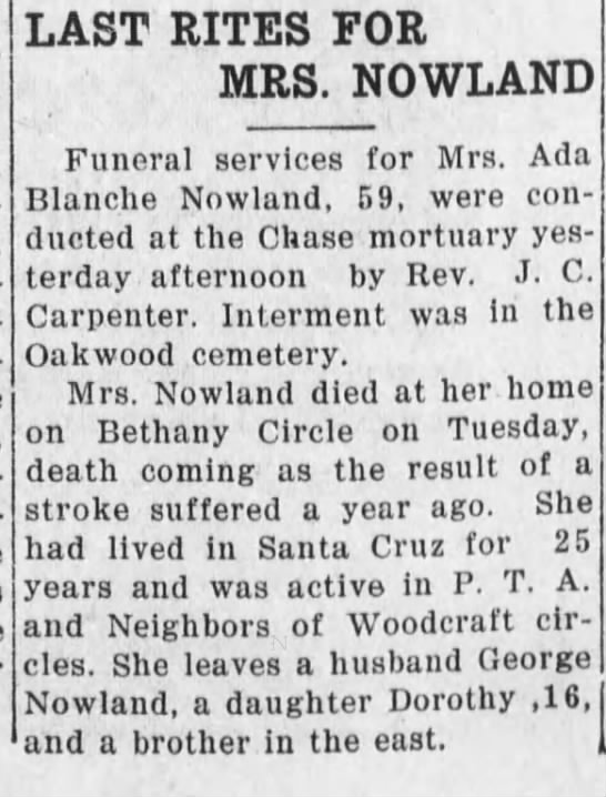 Last Rites for Mrs Ada Blance Nowland age 59,died of stroke -