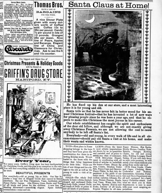 Santa Claus - Hartford Herald (Hartford, KY), Dec. 20, 1899, p. 3 -