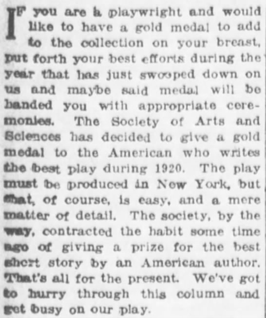 The Evening World (New York, New York) 3 January 1920  Page 16 - IF you arc h, playwright and would like to have...