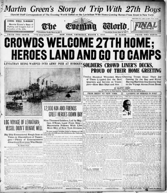 Crowds Welcome Home Soldiers - WWI -