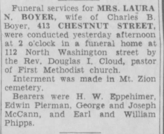 - Funeral services for MRS. LAVRA N. BOYER, wife...