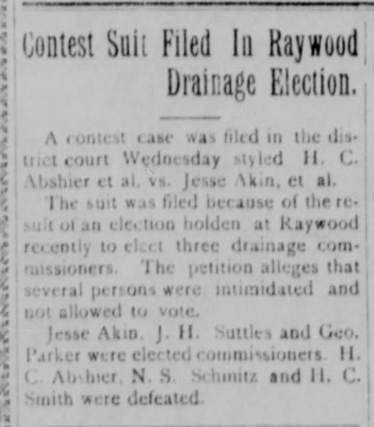 H. C. Abshier files election suit - 1916 -