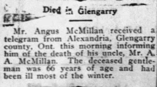 Death of A A McMillan of Glengarry, Ontario -